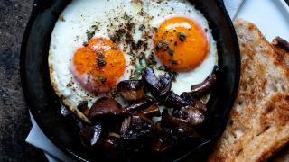 Fried eggs at Levan in Peckham