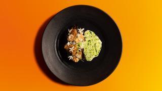 Five Dishes: Cabbage, crab, horseradish, chicken skin