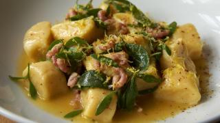 Townsend restaurant: potato dumplings with potted shrimp