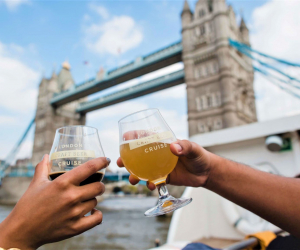 Two punters enjoying craft beer on the London Craft Beer Cruise
