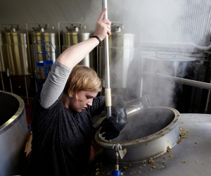 Stirring the hops at Kernel Brewery