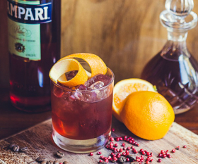 Pachamama's take on the negroni, with pink peppercorns