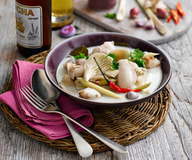 A Thai chicken soup that pairs well with Singha beer