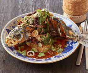 The whole deep-fried sea bass at Som Saa