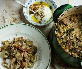 Tom Hunt's broad bean and lamb pilaf with seasoned yoghurt