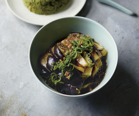 Cool-steamed aubergine. Photography by Yuki Sugiura