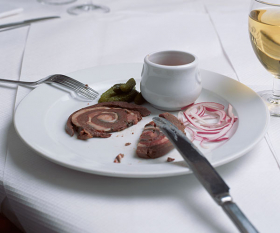 Fergus Henderson's rolled pigs spleen. Photograph by Stefan Johnson