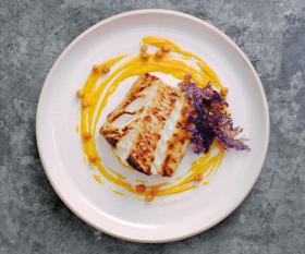 Michel Roux Jr's miso-glazed Skrei, carrot and ginger purée and crispy kale