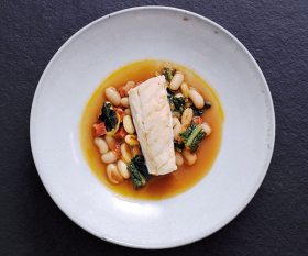Stewed Skrei with cannellini beans and chorizo