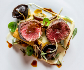 Scottish venison with medjool dates at Ormer in Mayfair
