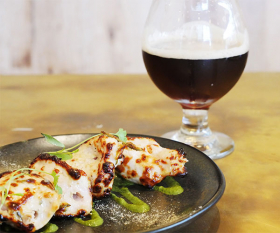 A modern Indian small plate and paired beer at Booma, Brixton