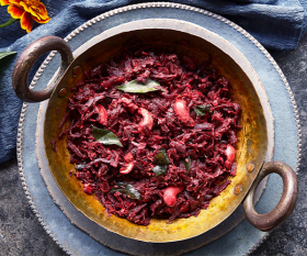 Beetroot and coconut curry by Mina Manek