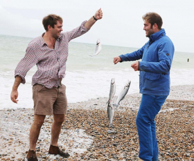 Richard and Oliver fishing near their family farm in West Sussex