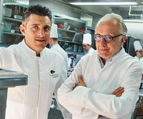 Alain Ducasse in the kitchen with executive chef Jean-Phillippe Blondet