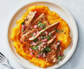Make Healthyish's cumin pork cutlets with smashed butternut squash; photograph by Linda Pugliese