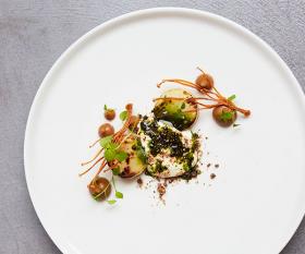Salt-baked celeriac with enoki mushroom and whey foam at Roganic
