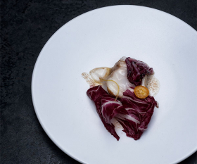 Monkfish with lardo, radicchio and bottarga from Serge et le Phoque