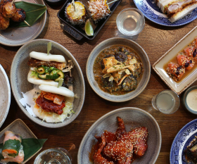 A brunch spread at Japanese-inspired restaurant Shackfuyu