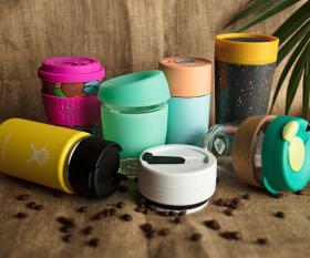 7 reusable coffee cups; Photograph: Nicola Poulos