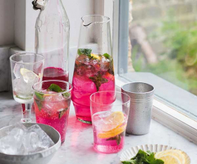 Mallika Basu's muddled mint, rose and lemon cooler; photography Issy Croker