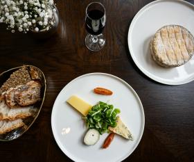 A selection of English cheeses at Roux at the Landau