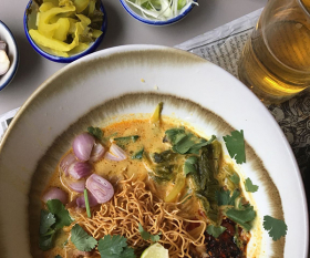 Khao soi gai, a huge, turmeric-yellow curried coconut noodle soup from Chiang Mai