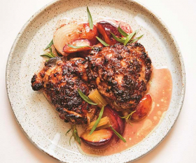 Honey & Co.'s chicken in plums and spice; photograph by Patricia Niven