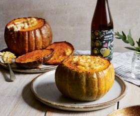 Melissa Cole's cheesy pasta pumpkin bowls; photography by Patricia Niven