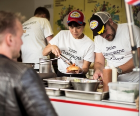 Sandia Chang and James Knappett at Copenhagen's World Hot Dog Championships; photograph by Rasmus Flindt Pedersen