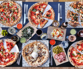 A spread of the pizzas on offer at Made of Dough, London
