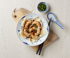 Pork and prawn wontons with black vinegar and chilli oil