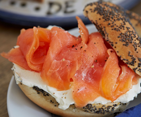 Salmon and cream cheese bagel from De Beauvoir Deli
