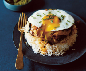Selina Periampillai's sunny-side-up egg, chicken and pak choi rice bowl