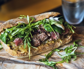 Steak sandwich at The Gun; photography by Adrian Stanley