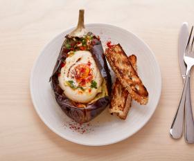 Honey & Smoke: aubergine with tahini and burnt egg yolk. Patricia Niven