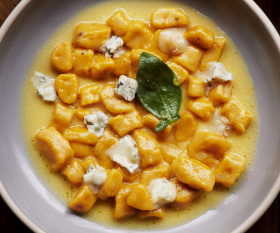 Pumpkin gnocchi with brown butter, sage, and gorgonzola
