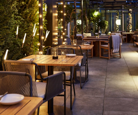 The rooftop terrace at Allegra, where you can still eat with people outside your household under Tier 2 restrictions