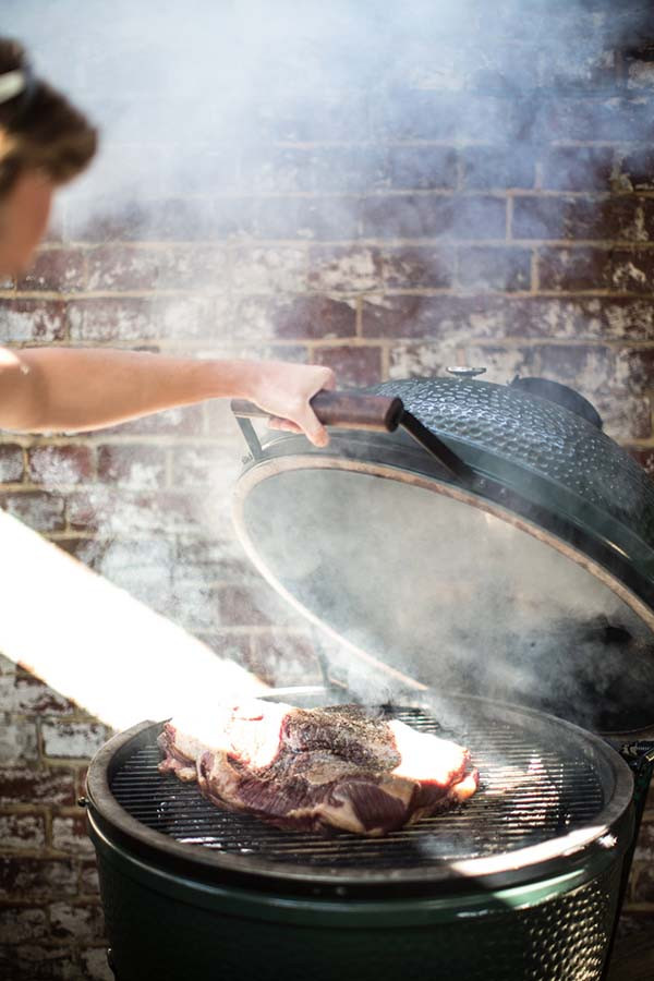 Cooking on the barbecue at Smokehouse Islington