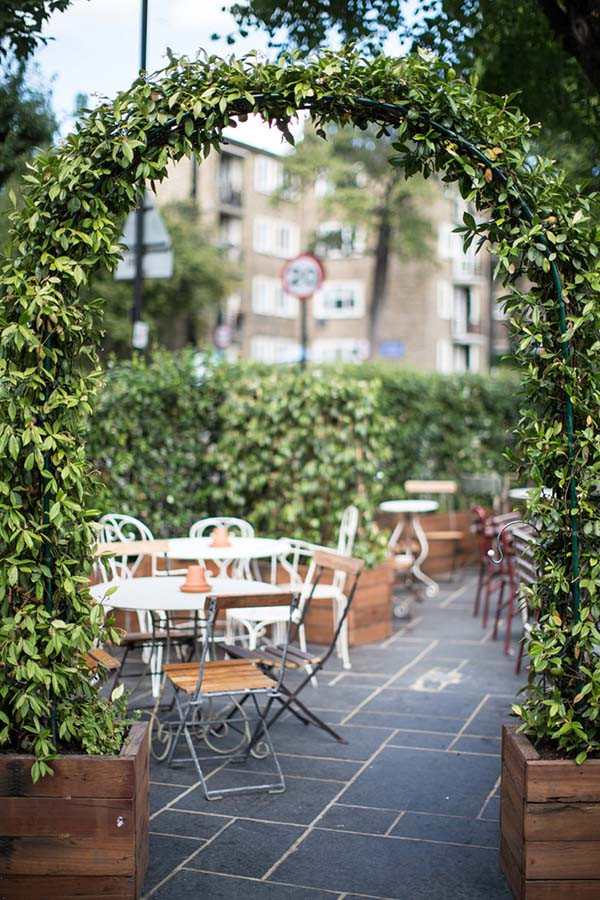The beer garden at Smokehouse Islington in London