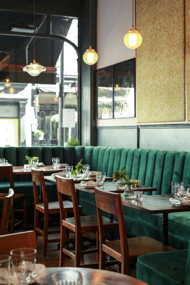 Interior seating at Cora Pearl, Covent Garden
