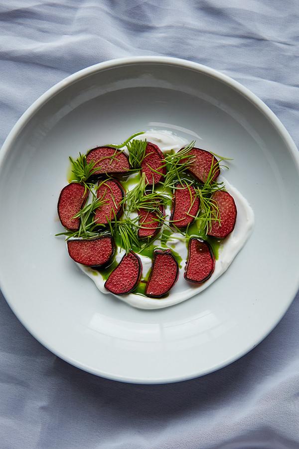 Rhubarb, fresh spruce and yoghurt