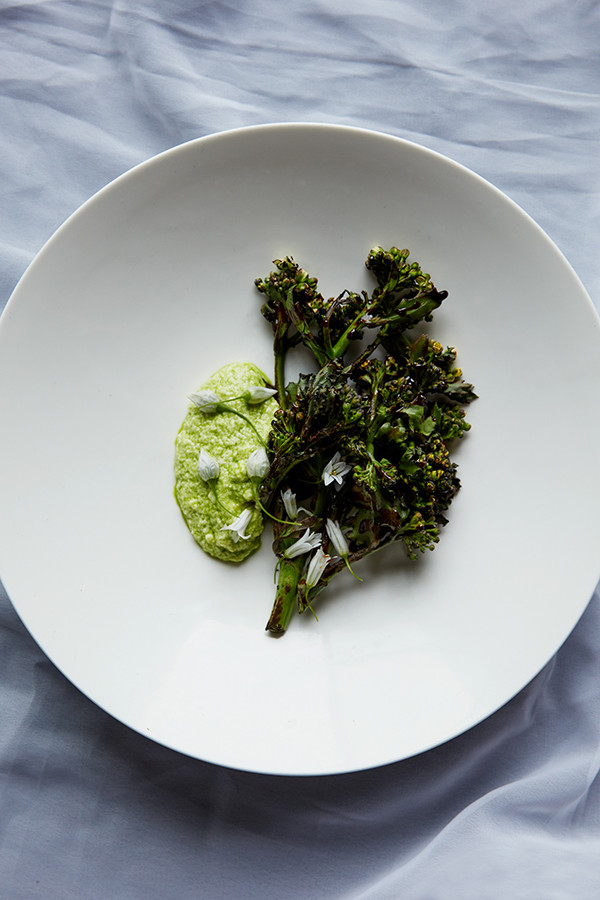 Chargrilled sea kale dressed in waste vegetable treacle and wild garlic