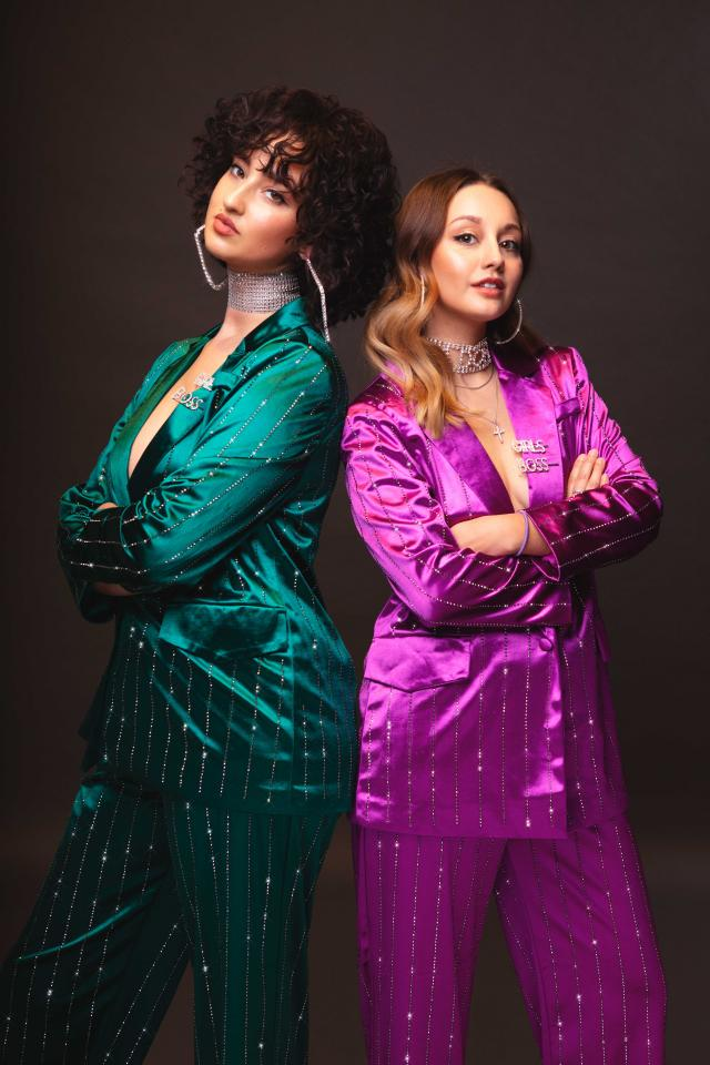 Mam Sham's Maria K Georgiou and Rhiannon Butler in sparkly suits
