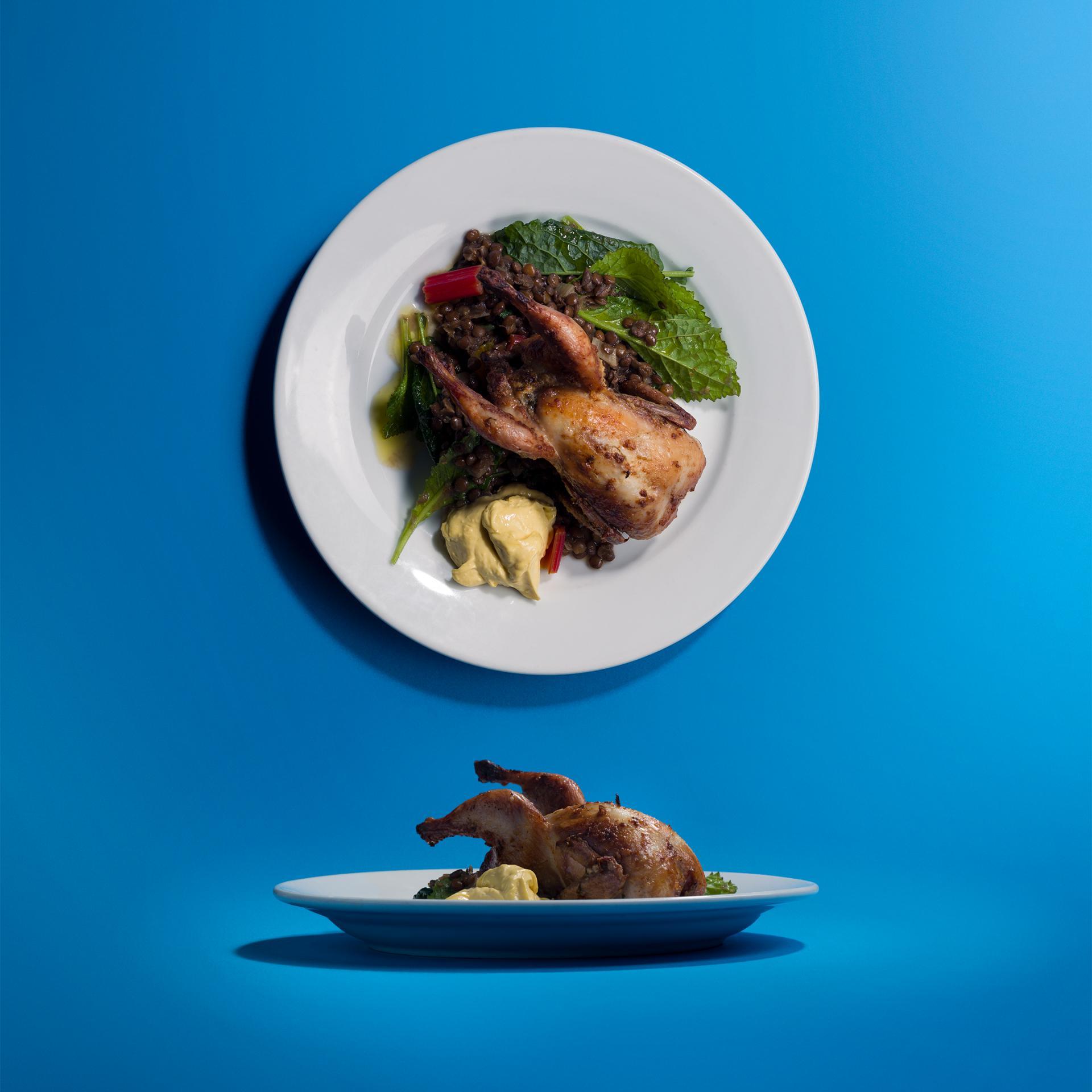 Margot Henderson's quail, lentils and aioli