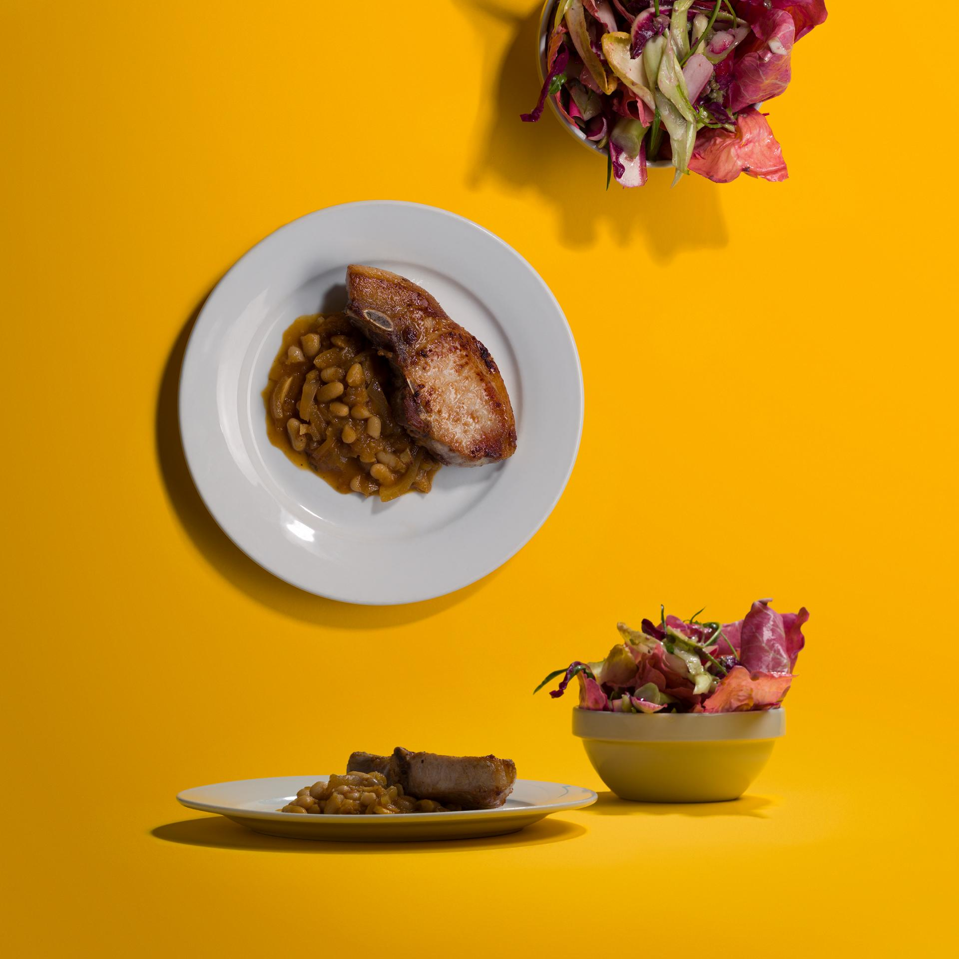 Margot Henderson's pork chop, beans and radichio salad
