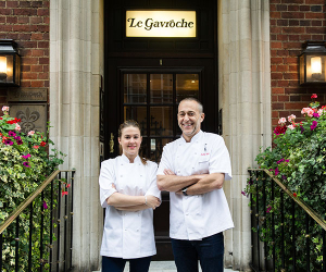 Michel and Emily outside Le Gavroche
