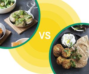 Street Food Fight meatballs vs falafel