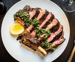 Bernardi's flank steak with salsa verde