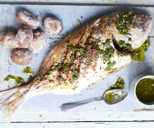 Ibizan-style grilled sea bream
