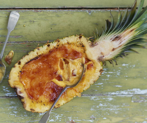 Eivissa's pineapple and mango crema catalana recipe. Photograph by David Munns